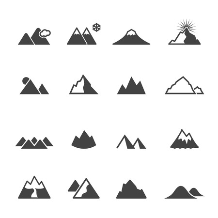 mountain icons, mono vector symbols