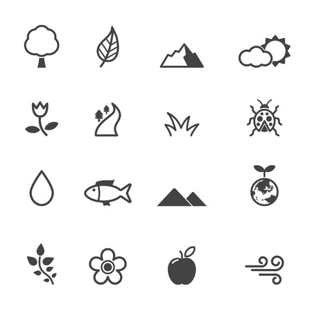 natural icons, mono vector symbols Illustration