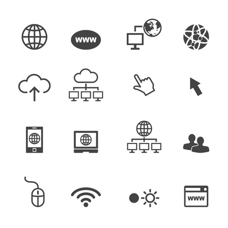 オンラインのアイコン、モノラルのベクトル シンボル