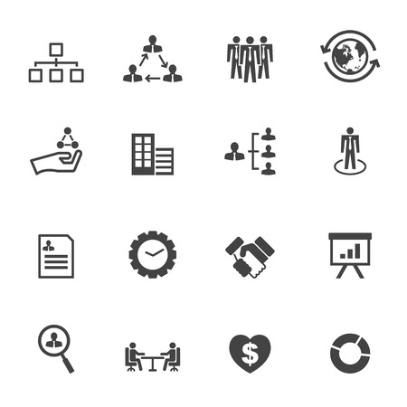 organization icons, mono vector symbols