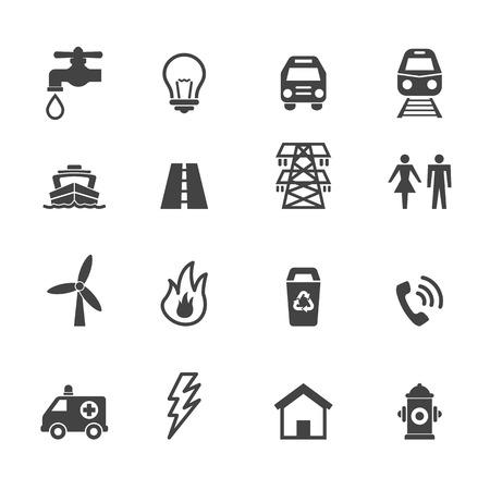 electricidad: iconos de servicios públicos, símbolos mono vector