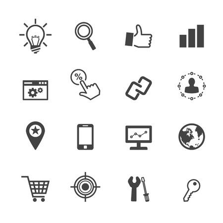 seo icons, mono vector symbols Vector