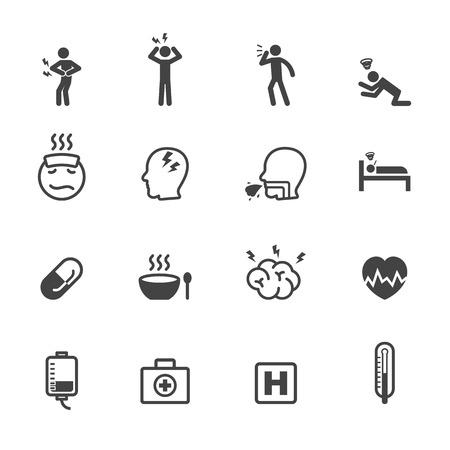 sick icons, mono vector symbols Vector