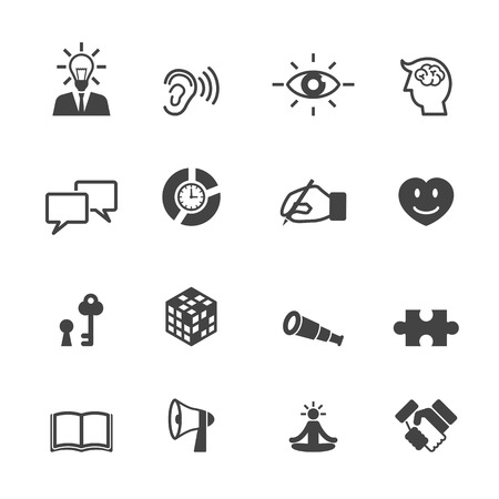 personal growth: skill icons, mono vector symbols
