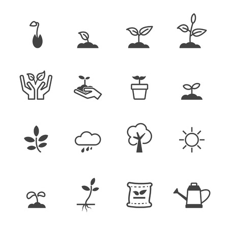 fertilizer: sprout icons, mono vector symbols