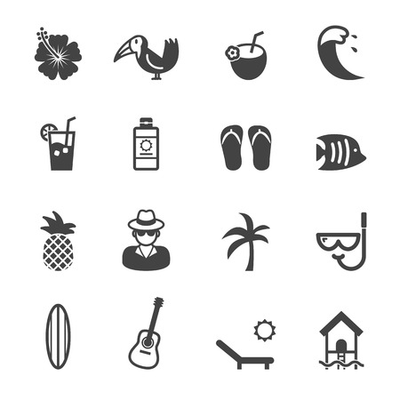 simbolo: Icone tropicali mono simboli vettoriali