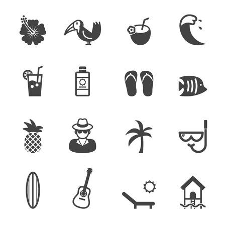 hibisco: iconos tropicales mono símbolos vectoriales