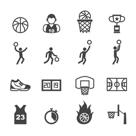 basketball dunk: basketball icons, mono vector symbols