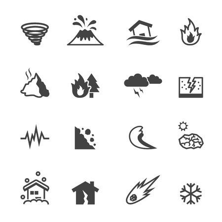 eruption: natural disaster icons, mono vector symbols Illustration