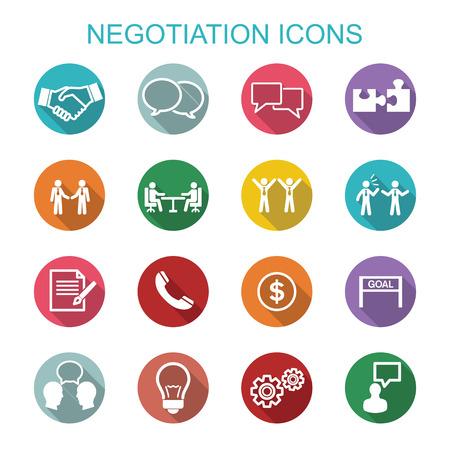 Onderhandelen iconen, platte vectorsymbolen Stock Illustratie