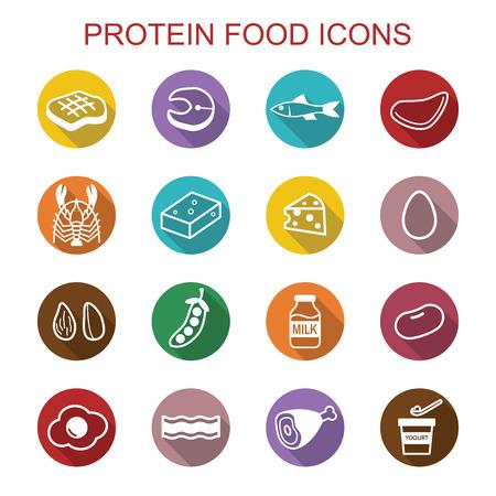 protein food long shadow icons, flat vector symbols  イラスト・ベクター素材
