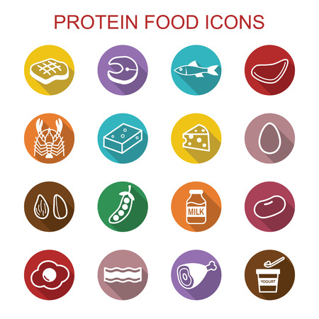 protein food long shadow icons, flat vector symbols Иллюстрация