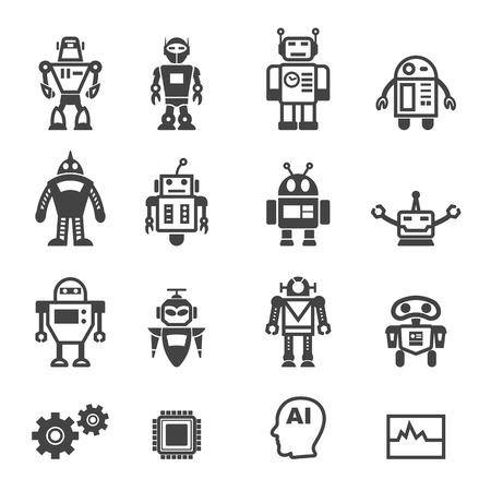 robot icons, mono vector symbols