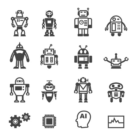 robot cartoon: robot icons, mono vector symbols