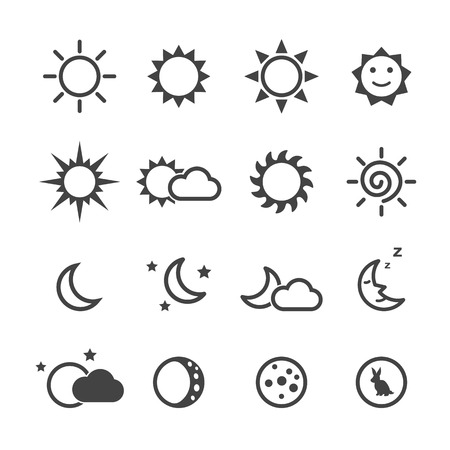 sun and moon icons, mono vector symbols