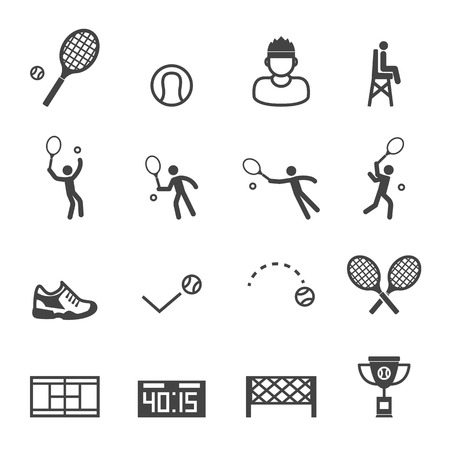 tennis icons, mono vector symbols Illustration