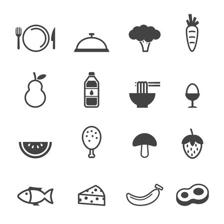 clean food icons, mono vector symbols Çizim