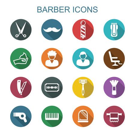 barbero: iconos sombra peluquero largo, símbolos vectoriales planas