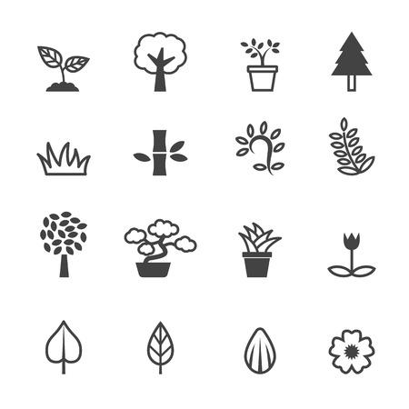 plant icons, mono vector symbols