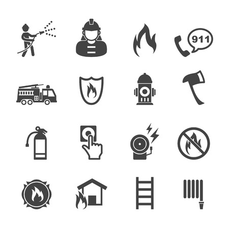 fire extinguisher sign: firefighter icons, mono vector symbols Illustration