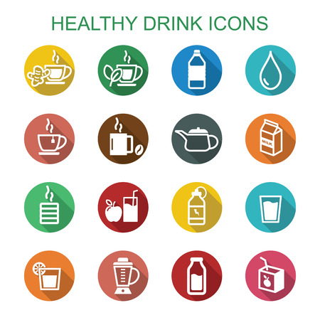 hot water bottle: healthy drink long shadow icons, flat vector symbols