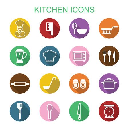ladle: kitchen long shadow icons, flat vector symbols