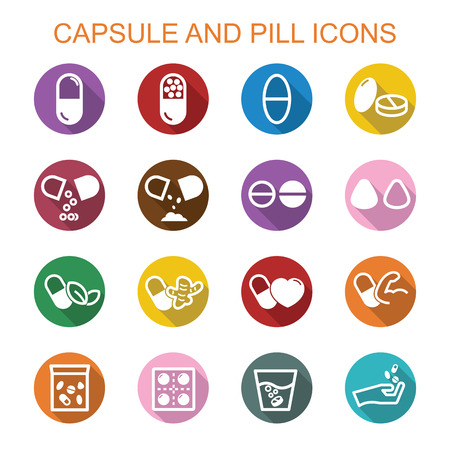 a tablet blister: capsule and pill long shadow icons, flat vector symbols Illustration