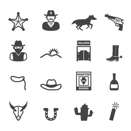 cowboy cartoon: cowboy icons, mono vector symbols