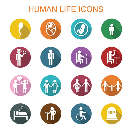 round icons: human life long shadow icons, flat vector symbols