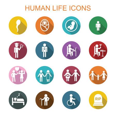 menselijk leven lange schaduw iconen, platte vectorsymbolen Stock Illustratie