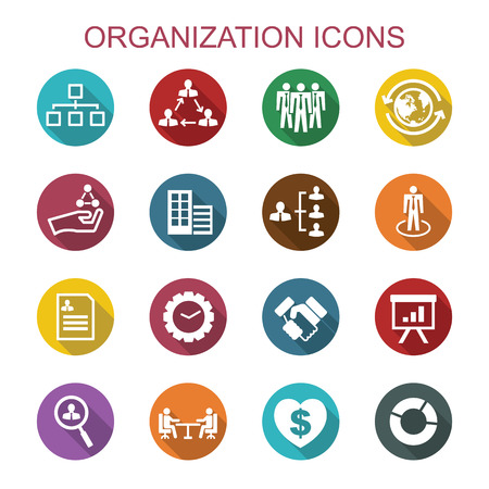 organization long shadow icons, flat vector symbols