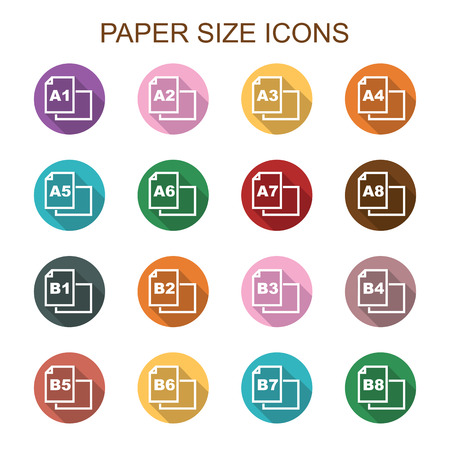 meterial: paper size long shadow icons, flat vector symbols