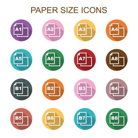 printing logo: paper size long shadow icons, flat vector symbols