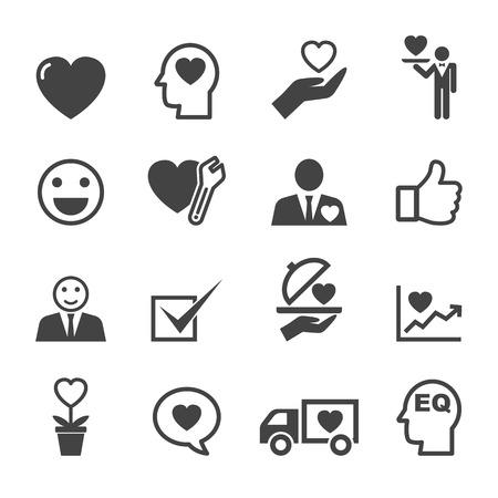 employee satisfaction: service mind icons, mono vector symbols