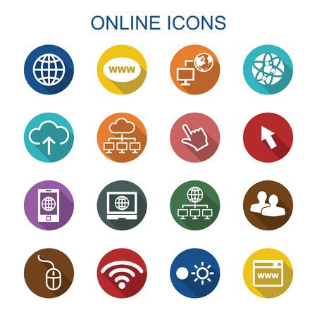 digitální: on dlouhý stín ikony, ploché vektor symboly