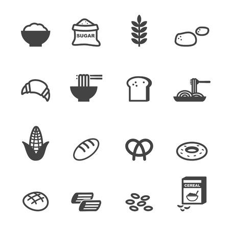 koolhydraten eten iconen, mono vectorsymbolen Stock Illustratie