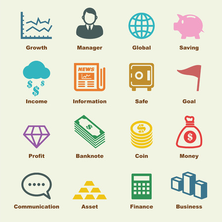 finance icons: business and finance elements, vector infographic icons Illustration