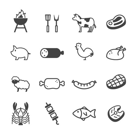 meat and grill icons, mono vector symbols