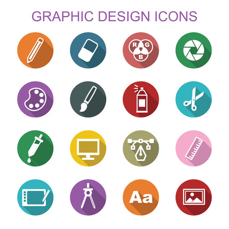 computer art: graphic design long shadow icons, flat vector symbols Illustration