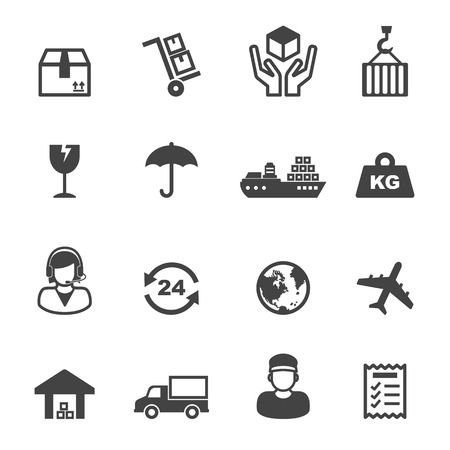 shipping icons, mono vector symbols Иллюстрация