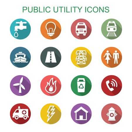 public utility long shadow icons, flat vector symbols