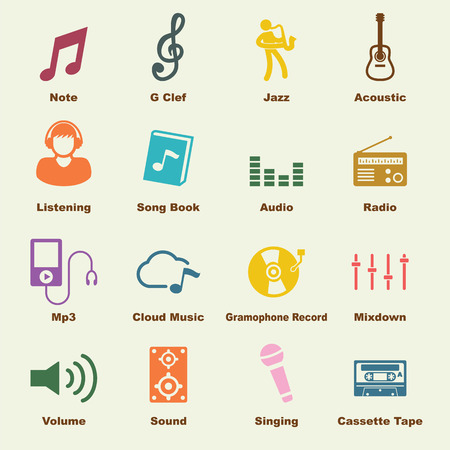 logo music: music elements, vector infographic icons
