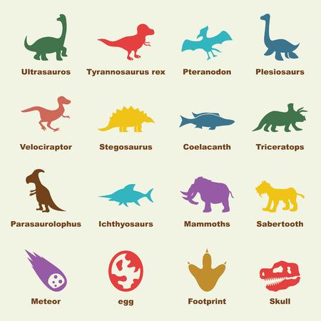 huellas: elementos de dinosaurios, los iconos del vector infográficas