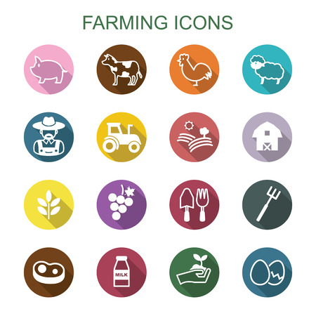 farming long shadow icons, flat vector symbols