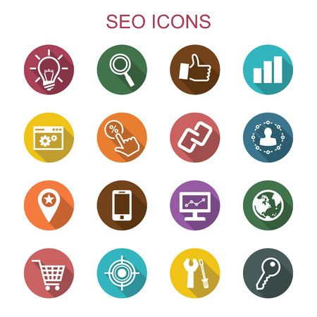 seo: seo long shadow icons, flat vector symbols