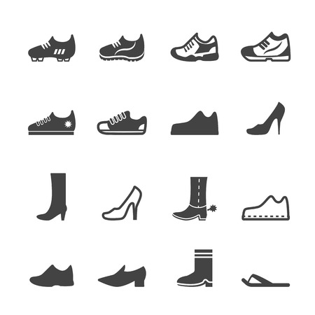 fashion shoes: shoe icons, mono vector symbols