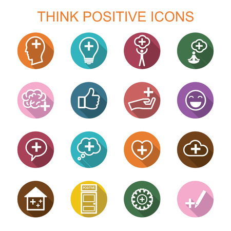 good attitude: think positive long shadow icons, flat vector symbols