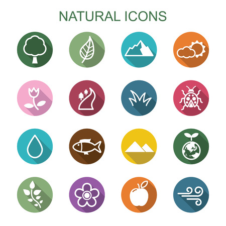 natural long shadow icons, flat vector symbols Vettoriali