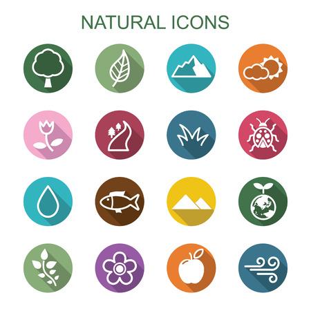 natural long shadow icons, flat vector symbols Stock Illustratie