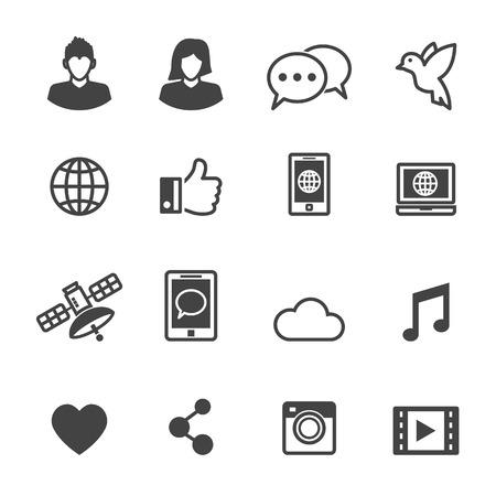 social media icons, mono vector symbols